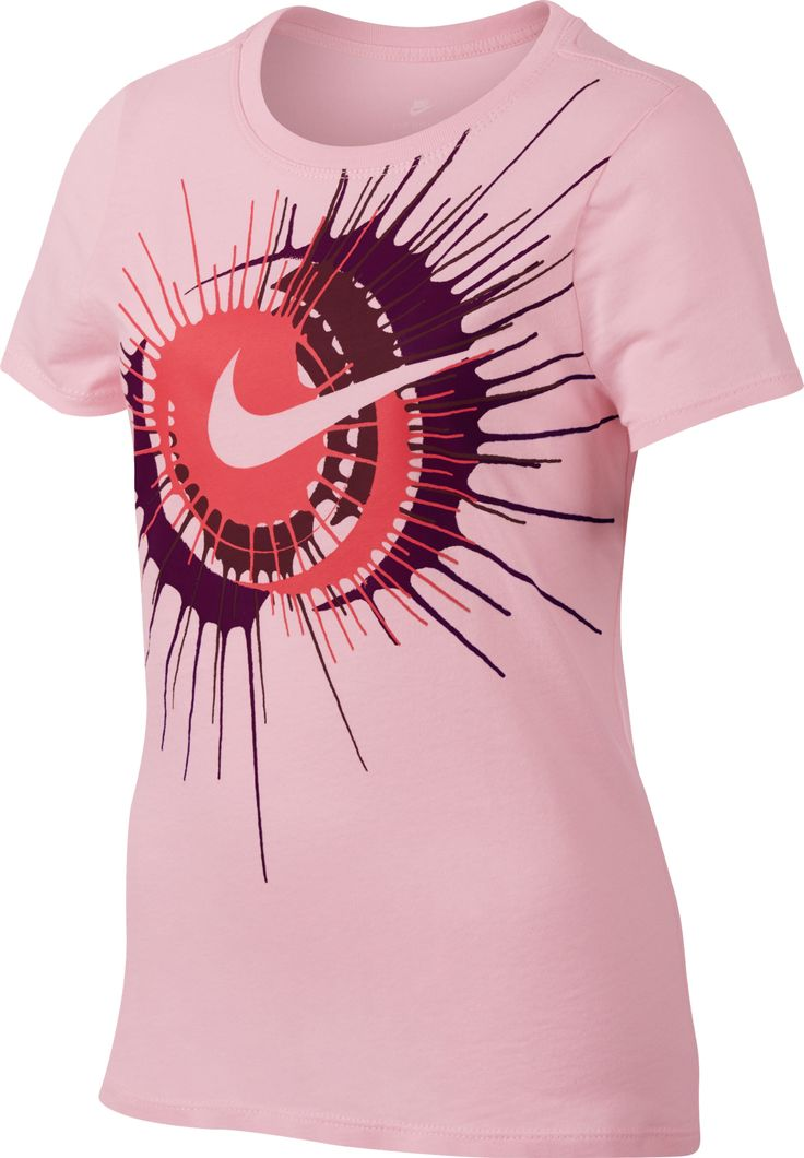 Nike Girls' Sportswear Spin Swoosh T-shirt (Racer Pink, Size Medium) - Girl's Apparel, Girl's Athletic Tops at Academy Sports