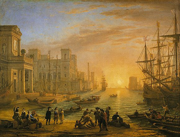 Le Lorrain port de mer au soleil couchant