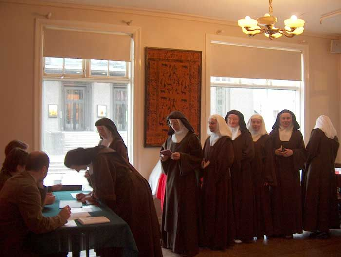 nuns casting their votes in the Polish parliamentary elections