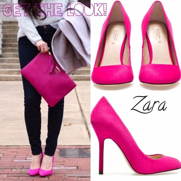 ZARA Woman Hot Pink Pumps Size 38 but would probably fit a size 7- 7 1/2. I'm a normal 8 and these were a squeeze for me. Hot pink, super cute. Suede outer. A few signs of wear but in great shape. Zara Shoes Heels