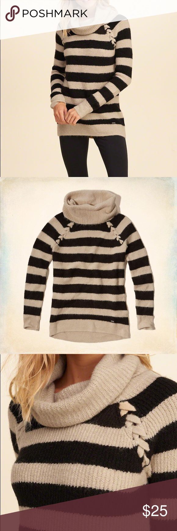 Hollister Striped CowlNeck Tunic Sweater Black/Tan A beautiful supersoft Hollister Co. sweater featuring a cozy cowl neck and easy oversized fit. Classic black/tan striped and ribbed texture in warm neutrals, perfect for layering. Sophisticated lace-up detailing at the shoulder dresses up the style with current trend, and a logo plaque at left hip. Only worn once and looks new! Size large. Sweaters Cowl & Turtlenecks