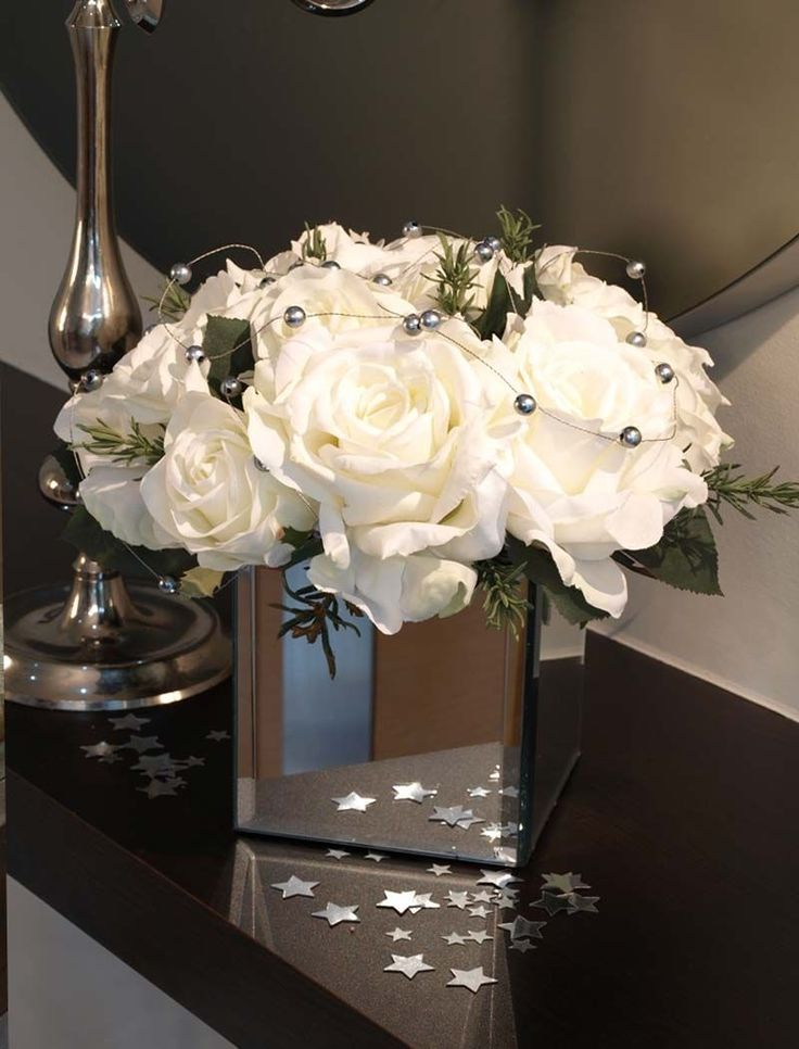 Silver Vase With Artificial Flowers