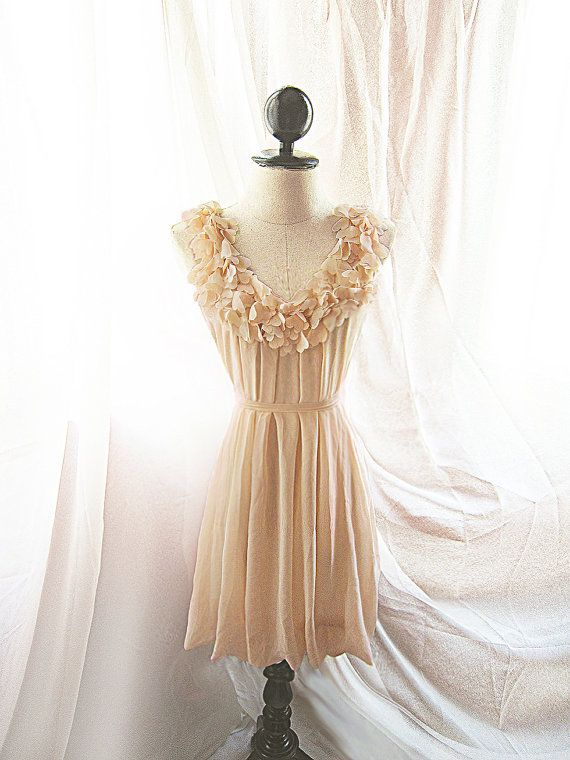 French Vanilla Cream Nude Marie Antoinette Alice in Wonderland Love Xoxo Flirty Cute Ethereal Dreamy Mille Feuille Chiffon Tea Party Dress. $46.80, via Etsy.