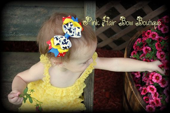 Cowgirl Headband Hair Bow Cow Print Hair by PinkHairBowBoutique