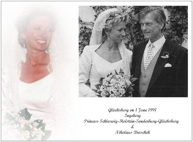 Much later in 20th century, Princess Ingeborg of Schleswig Holstein Sonderburg Glucksburg wed Nikolaus Broschek on 1 June 1991