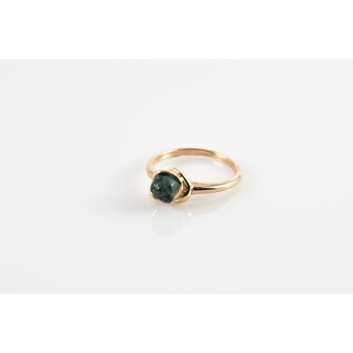 14K Gold Greenstone Ring Handmade In Marquette, MI. Simple