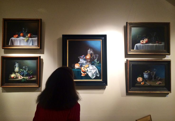 Captivated by Brian Davies' still lifes at our reception for the Brian Davies Memorial Exhibition.