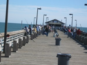 Fishing Off The Garden City Pier, Myrtle Beach SC. The Pier Has Live  Entertainment