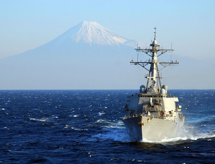 "USS Curtis Wilbur DDG-54 Off Mount Fuji, Japan November 21, 2009 - 8 x 10"" Photograph"
