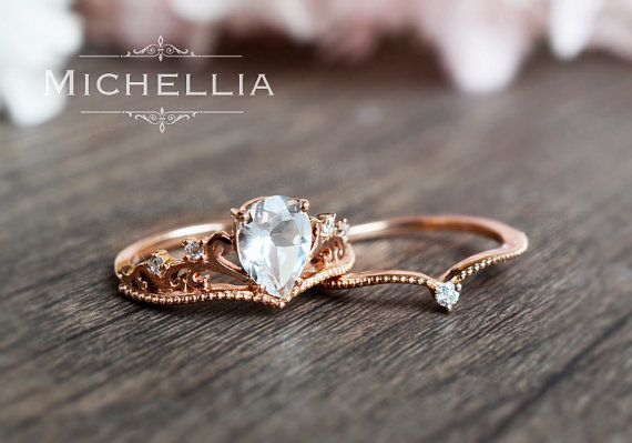 「Athena」  Note: The pictures in this listing shows this ring style in the 2pc set w/band option, but it is also available in a standalone engagement ring style. To see what the standalone ring looks like, please visit the opal ring page: https://www.etsy.com/listing/463310741/vintage-pear-opal-engagement-ring  If youd like to order the standalone ring instead of the 2pc set, please leave me a note in the checkout comment section to indicate what color gold (rose, white, yellow) youd like…
