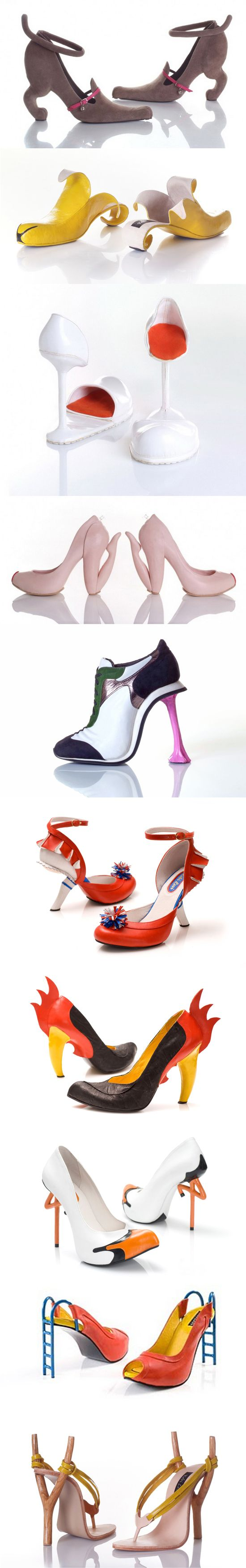 Weird. 10 amazing shoes and footwear designed by Kobi Levi. The shoes are named after the themes that inspired the artist in creating them: Miao, Banana, Tulip, Blow, Chewing gum, Cheerleader red, Rooster black, Stork, Slide, Sling Shot.
