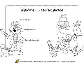 Diplôme à imprimer pour celui ou celle qui est un parfait Pirate