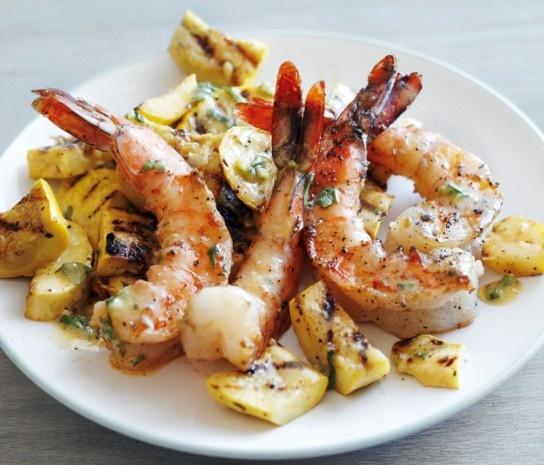 Grilled Shrimp and Summer Squash: Shrimp And Summer Squash, Seafood Recipes, Dinners Recipes, Fish, Belle Peppers, Summer Squash Recipes, Squashes, Favorite Recipes, Grilled Shrimp