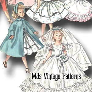Vtg-50s-Doll-Wedding-Dress-Pattern-23-24-Miss-Revlon-Toni-Sweet-Sue