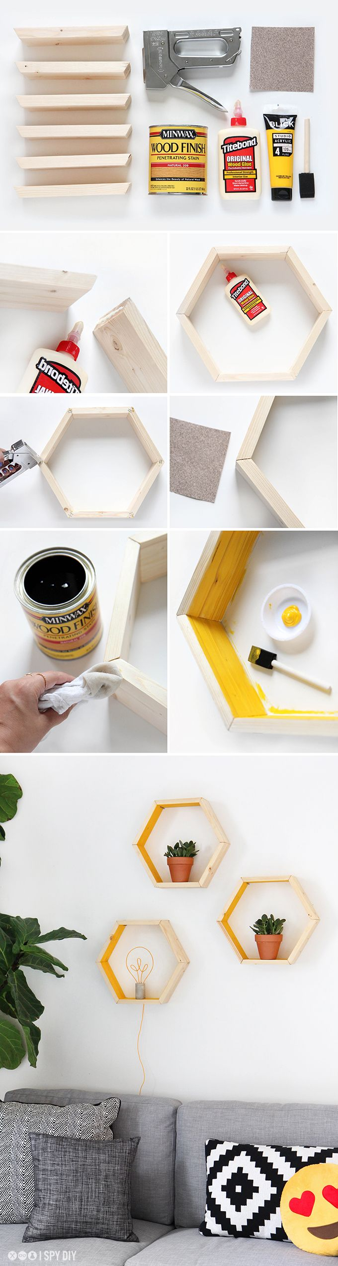 DIY Hexagonal Shelves