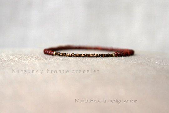 'burgundy bronze' small bead bracelet for men - MariaHelenaDesign