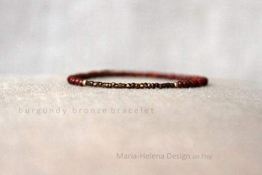 'burgundy bronze' small bead bracelet for men - MariaHelenaDesign