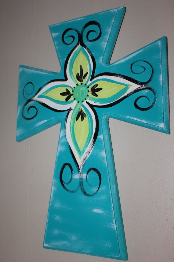 18 inch wooden cross handpainted wall decor by normanfiveart, $22.00