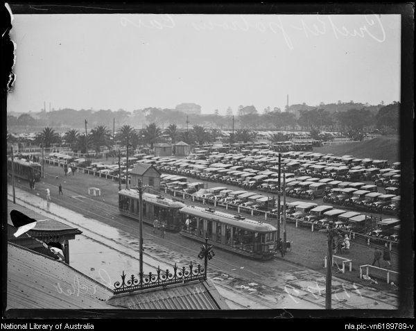 Cricket patrons' cars in the carpark at the Sydney Cricket Ground [?], New South Wales, ca. 1920 [picture].