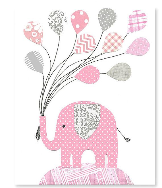 Gray And Pink Elephant Nursery Wall Art By