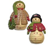 KP Creek Gifts - 2/Set, Resin Snowmen w/Hats
