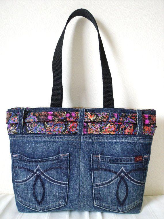 Denim Jeans Bag with Multi retro patterned thai silk by SewKura