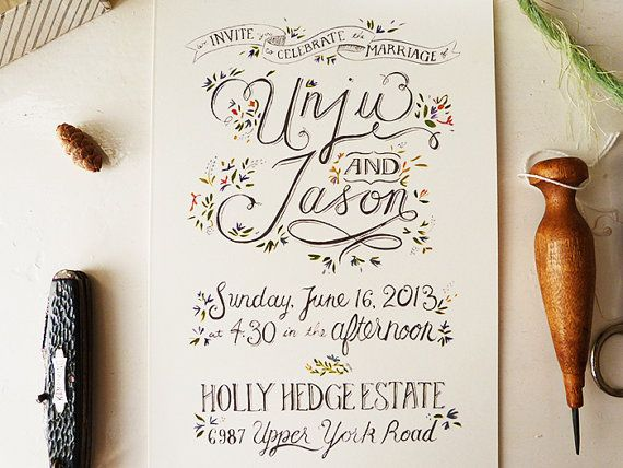 This floral design is so simple and dainty. | The 25 Most Beautifully Illustrated Wedding Invites