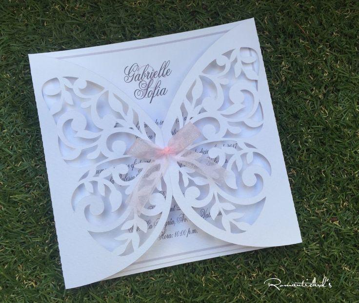 Partecipazione di nozze taglio forma di farfalla by Romanticards, by Romanticards e Little Rose Handmade, 1,90 € su misshobby.com
