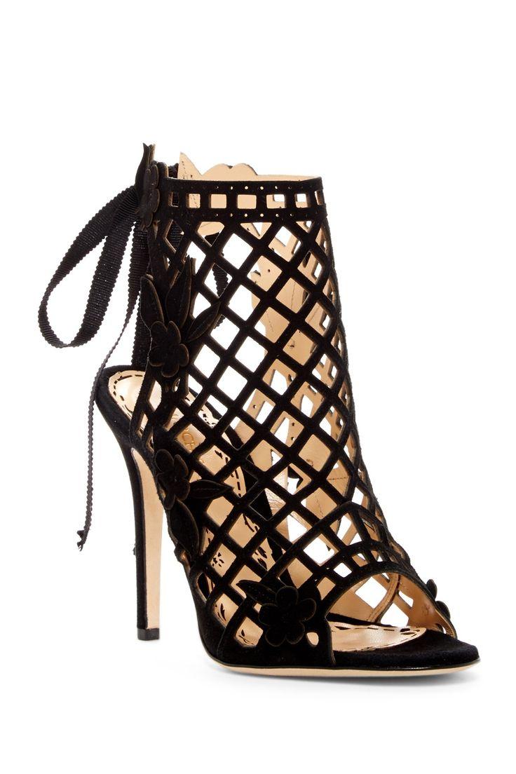 Black ribbon sandals - Marchesa Edith Runway Caged Sandal Black Ribbon