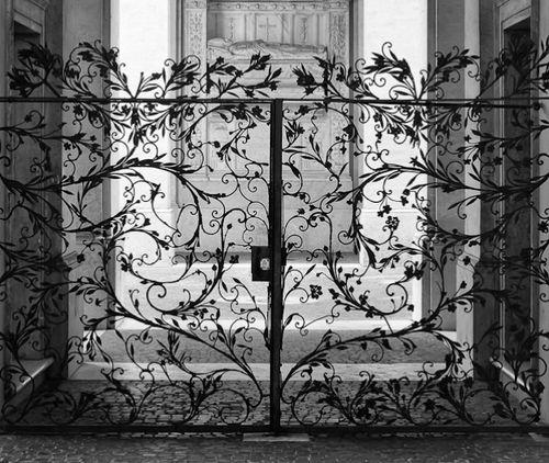 beautiful lace-like iron gate