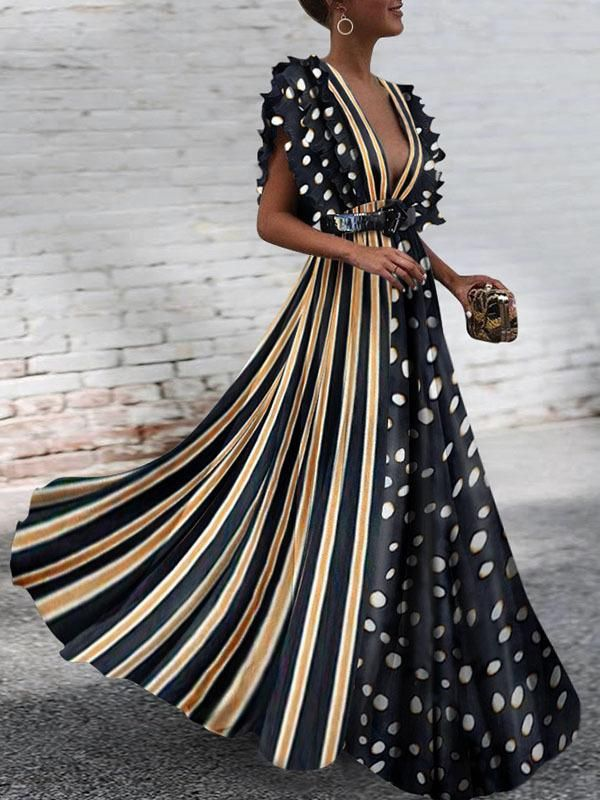 7a40f12dbdb3 Name:Polka Dot Stitching Striped Dresses Deep V-neck Maxi Dress Size:S M L  XL 2XL [qie] Tips:Size measured by ourselves,sometimes has some errors, ...