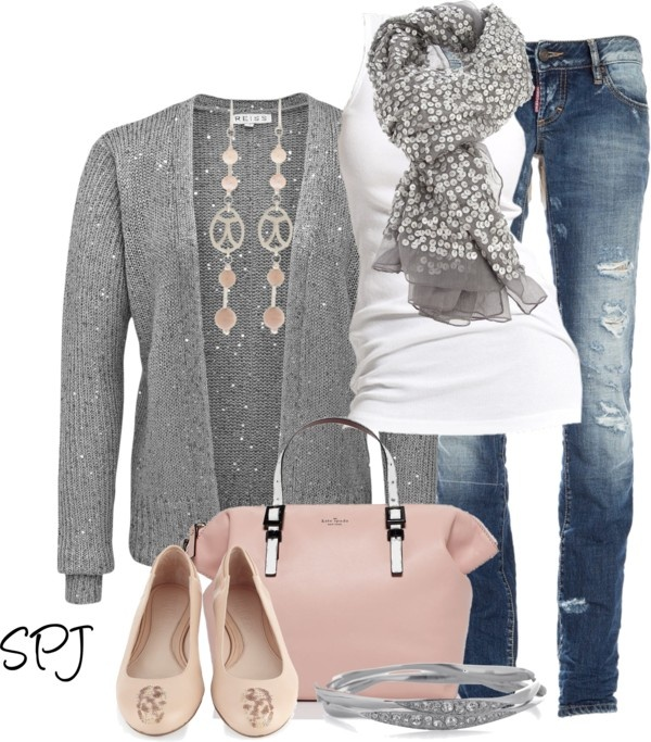 Grey & Pink by s-p-j on Polyvore