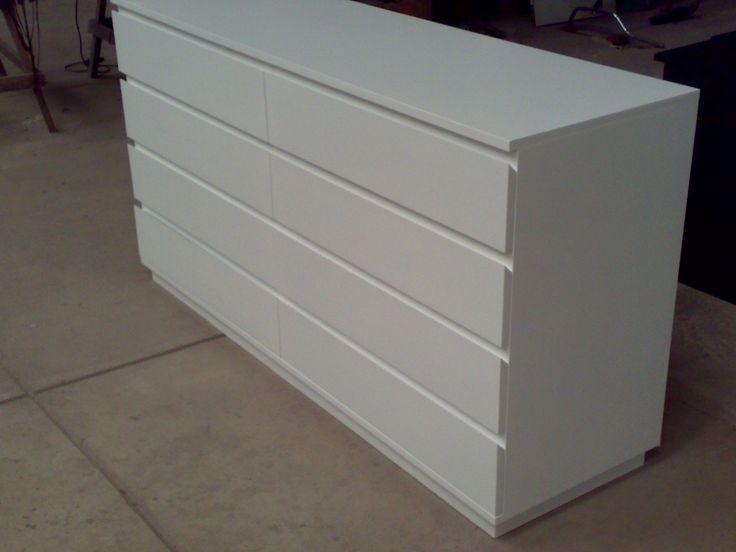 Cajonera c moda 8 cajones 140x45x80cm blanca laqueada - Cajonera bajo cama ...
