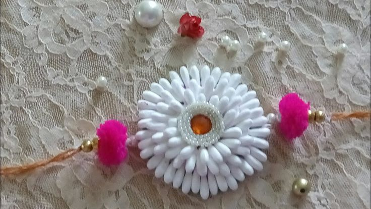D.i.y how to make rakhi at home /cotton buds rakhi making 2017 handmade ...