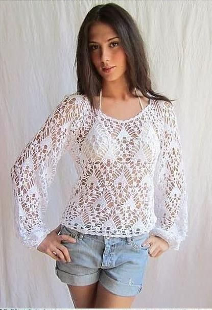 crochelinhasagulhas: Blusa branca manga longa em crochê