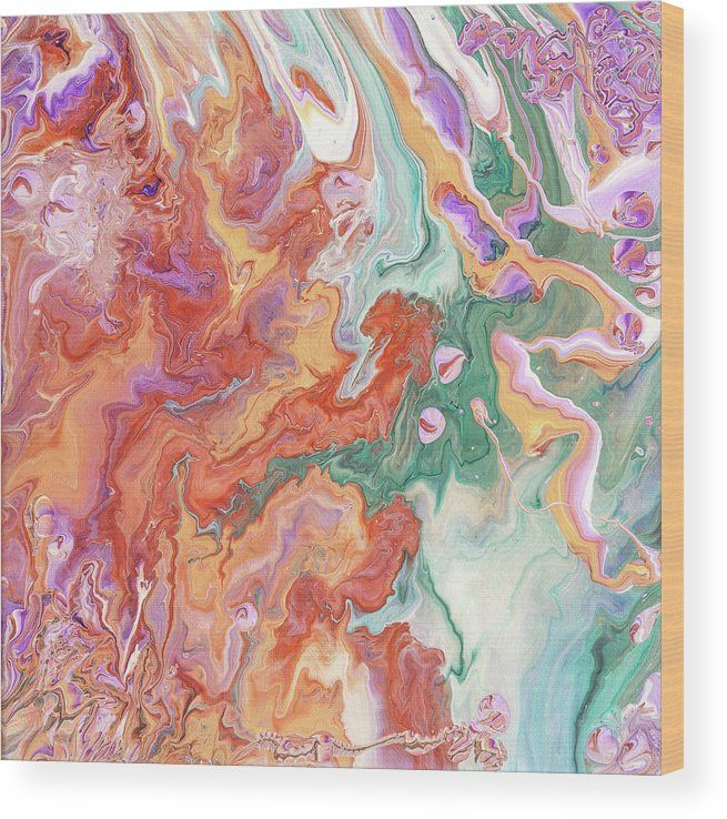 Persian Spring. Fluid Acrylic Painting Wood Print by Jenny Rainbow.  All wood prints are professionally printed, packaged, and shipped within 3 - 4 business days and delivered ready-to-hang on your wall. Choose from multiple sizes and mounting options.