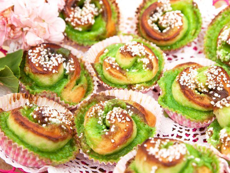 Gröna bullar med mandelmassa | Recept från Köket.se