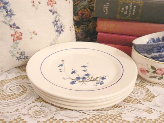 Vintage Oxford Blue and White Floral Plates by MissMagpiesShoppe