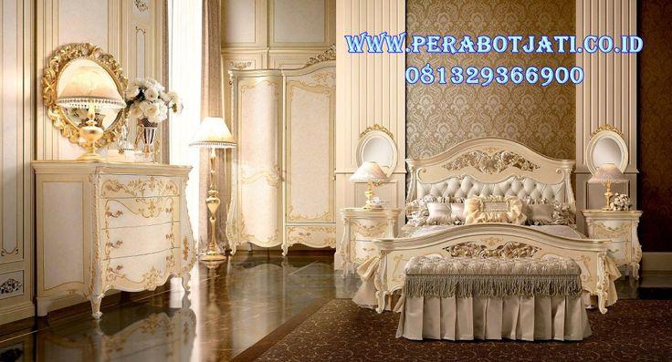 Set Tempat Tidur Klasik Ukir Gold Mewah | Jual tempat Tidur pengantin Putih Gold