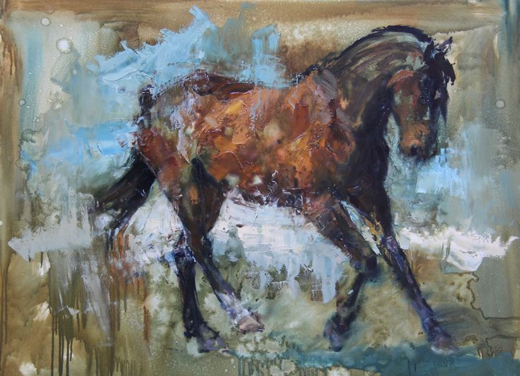 Horse Cantering on the Beach, oil painting by Lynne-Marie Eatwell, South African Artist, Equine Art, finest, impressionism