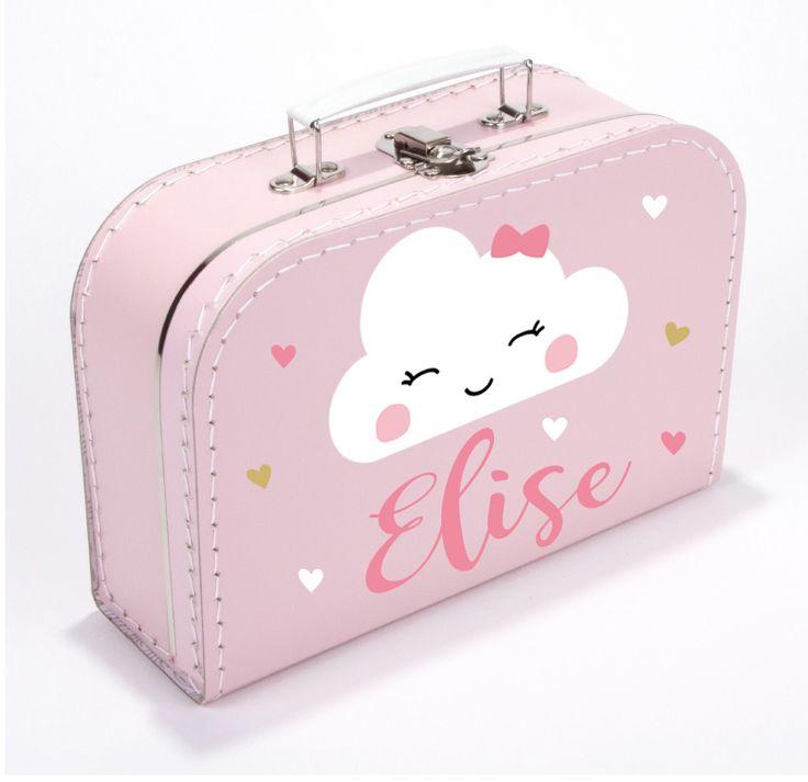 Koffertje met naam met schattig wolkje type Elise