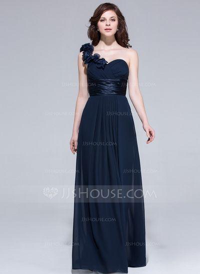 A-Line/Princess One-Shoulder Floor-Length Chiffon Charmeuse Bridesmaid Dress With Ruffle Flower(s) (007037284)