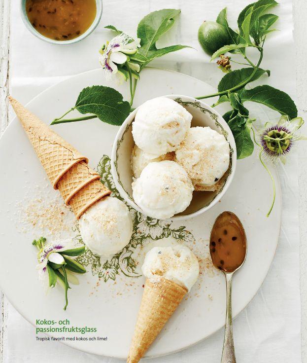 Kokos- och passionsfruktsglass
