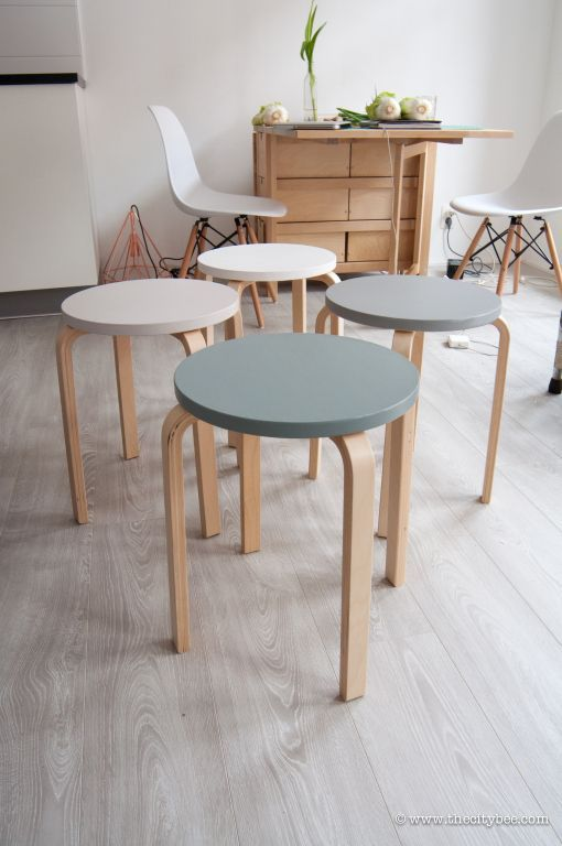 I love these neutral stools painted. One of the best ikea hacks I've seen.