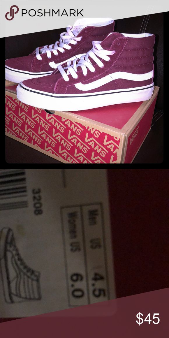 Maroon classic high top vans No flaws, worn once. Price is firm! Comes with box Vans Shoes Sneakers