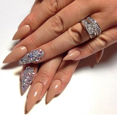 Stiletto nails☻for wedding day! Studded nail on ring finger. Sn