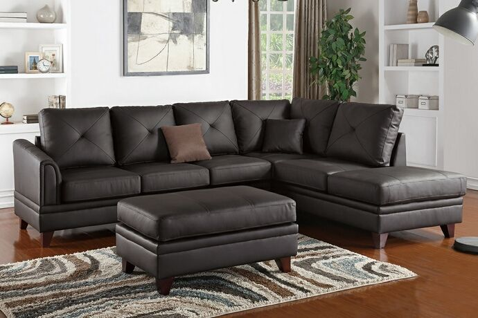 2 pc Felicia III collection brown top grain leather match sectional sofa with…