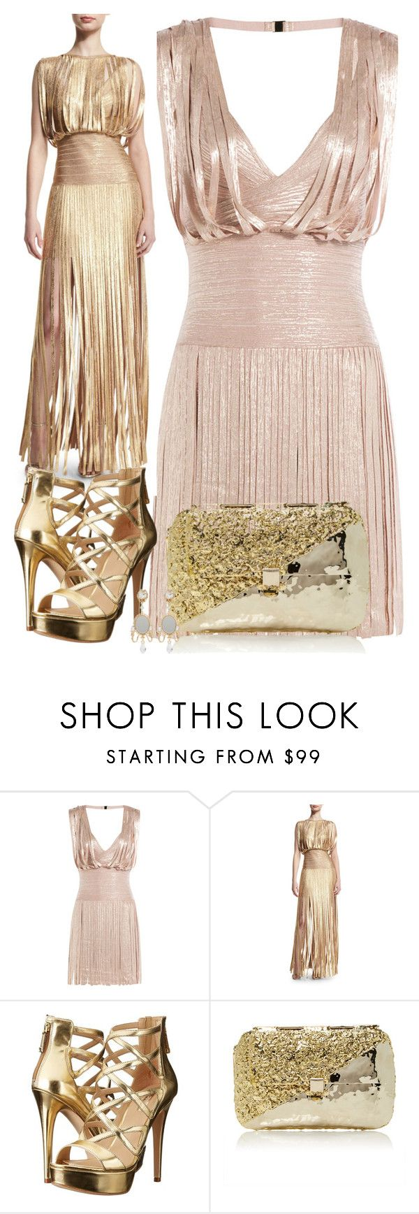 """PLEATED DRESS"" by ann-kelley14 on Polyvore featuring Hervé Léger, GUESS, Anndra Neen and Dolce&Gabbana"