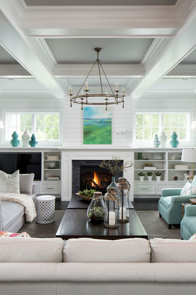Ceilings are smooth within coffered ceiling. White enameled ceiling beams (Benjamin Moore White Dove) with Benjamin Moore Silver Chain 1472 on ceiling