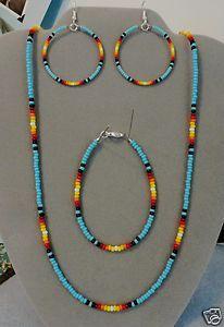 Native American Beaded Bracelets | ... Sunburst Beaded Necklace Earring Bracelet Set Native American | eBay